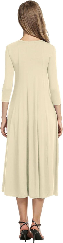 HOTOUCH Femme Robe Tunique Casual Mi Longue Manche 3//4 Uni Col Rond