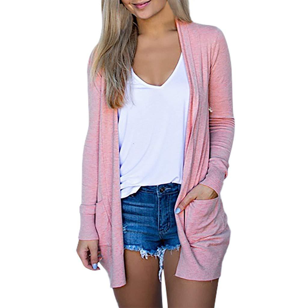 Bollysky Women's Midi Loose Cardigans Outwear Solid V-Neck Cardigan Long Sleeve Coat Pockets Outerwear Fashion Trend Costumes by Bollysky
