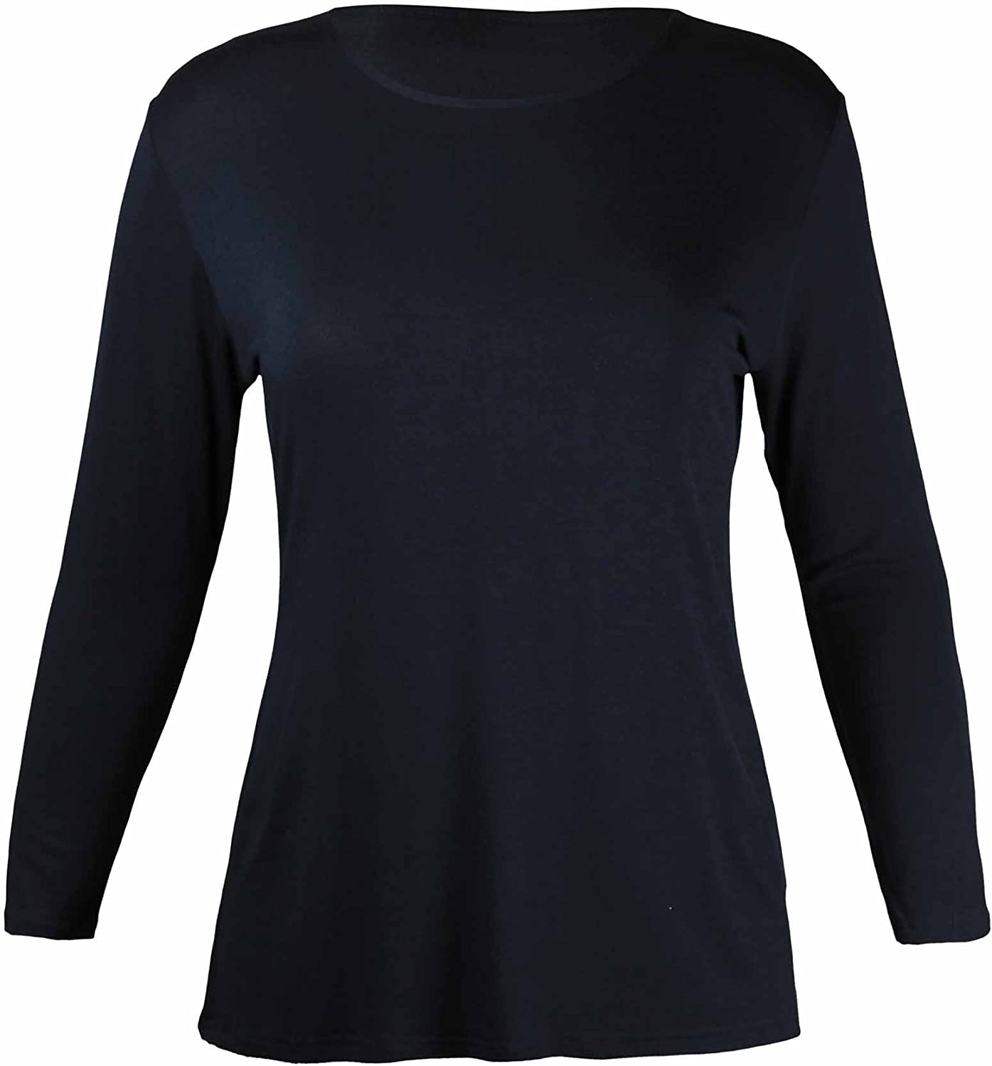 Ladies Plain Long Sleeve Round Neck T Shirt Womens Basic Stretch Top Plus Size