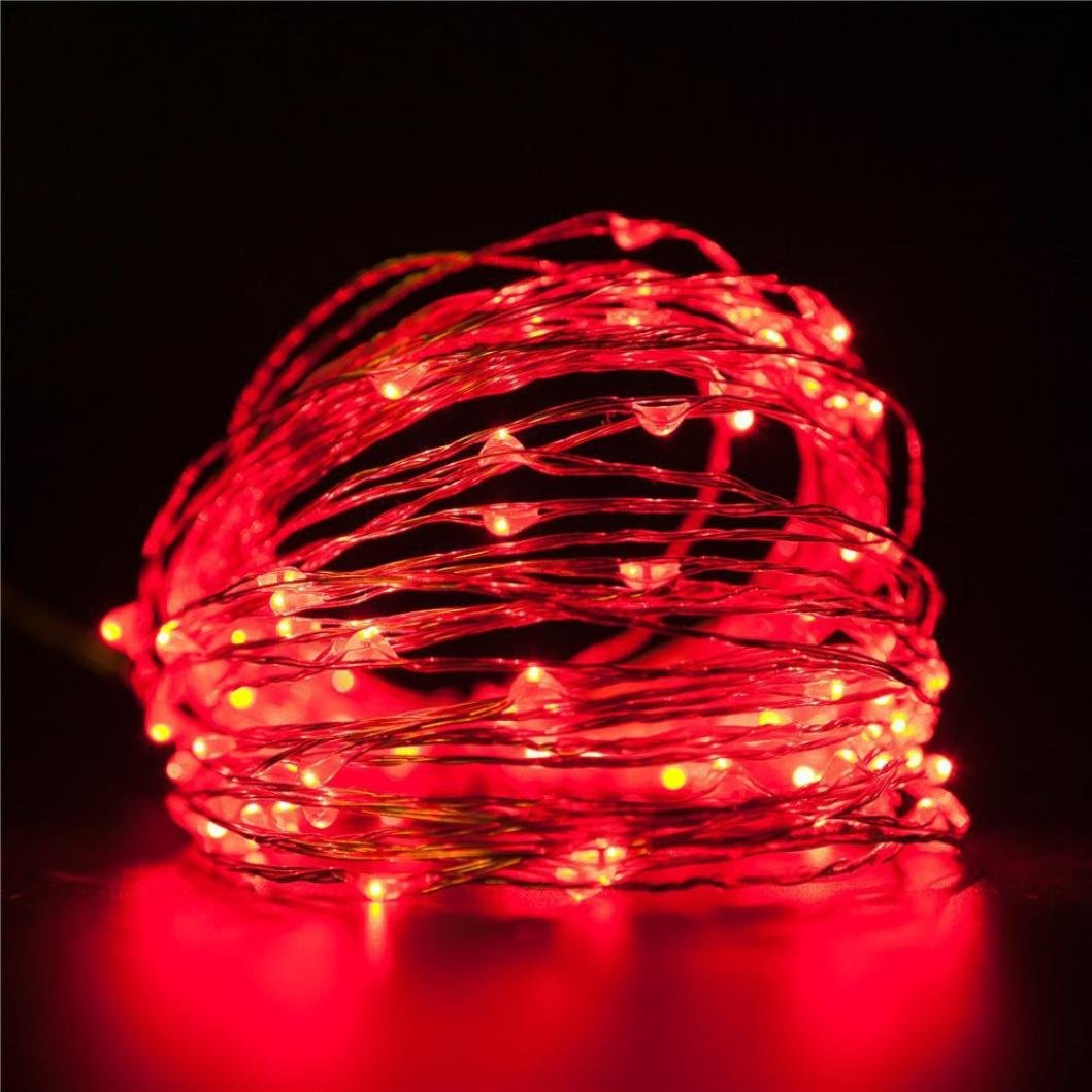 erthome Led Strip Lights 24 Key Remote Control LED Copper String Lights Party Wedding Fairy Indoor Outdoor Christmas Garden Led Candles (Green)