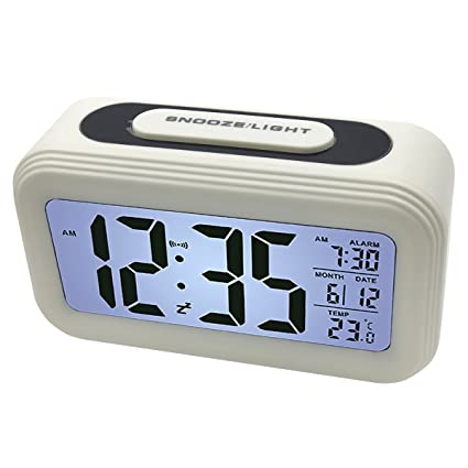 EASEHOME Reloj Despertador Digital, Relojes Despertadores Digitales Alarma Despertador Silencioso con Calendario Temperatura Reloj Alarma