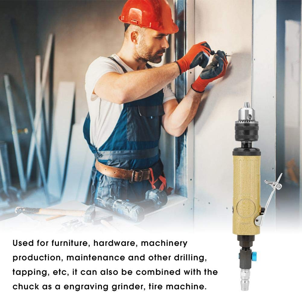 3//8 High Speeds Straight Air Power Drill Pneumatic Drilling Tool 22000rpm for Furniture Hardware Air Drill Tool