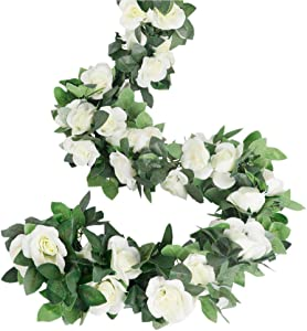 LESING Rose Garlands Artificial Rose Vines,4PCS(28.8FT) Fake Silk Flower Garlands with Greenery Plants Wedding Hanging Flower Vines Garlands for Home Office Arch Garden Decoration (White)