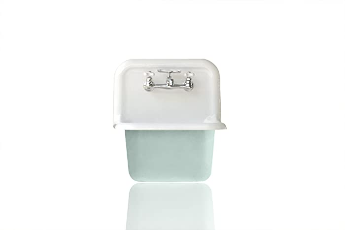 Superbe Deep Utility Sink Antique Inspired High Back Cast Iron Porcelain Farm Sink  Package Green Blue