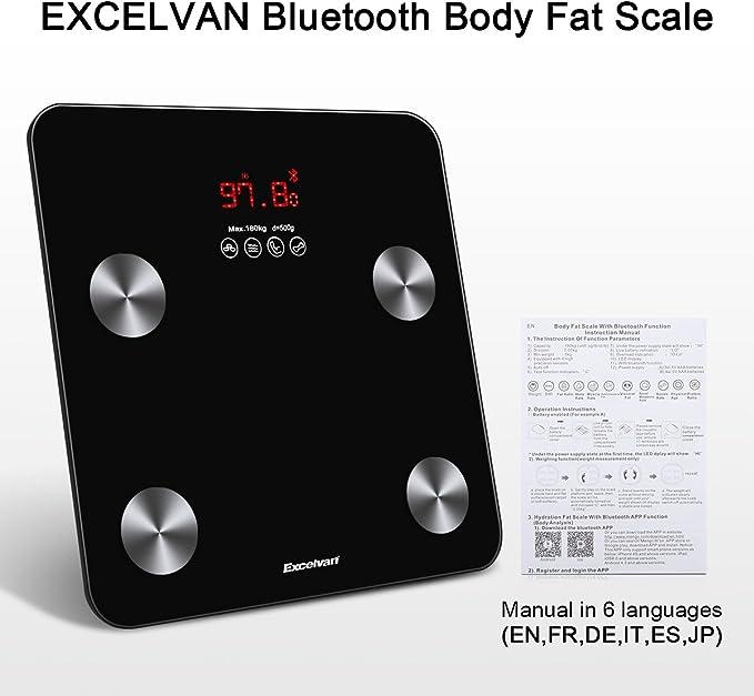 Báscula electrónica Bluetooth Excelvan análisis grasa corporal ...