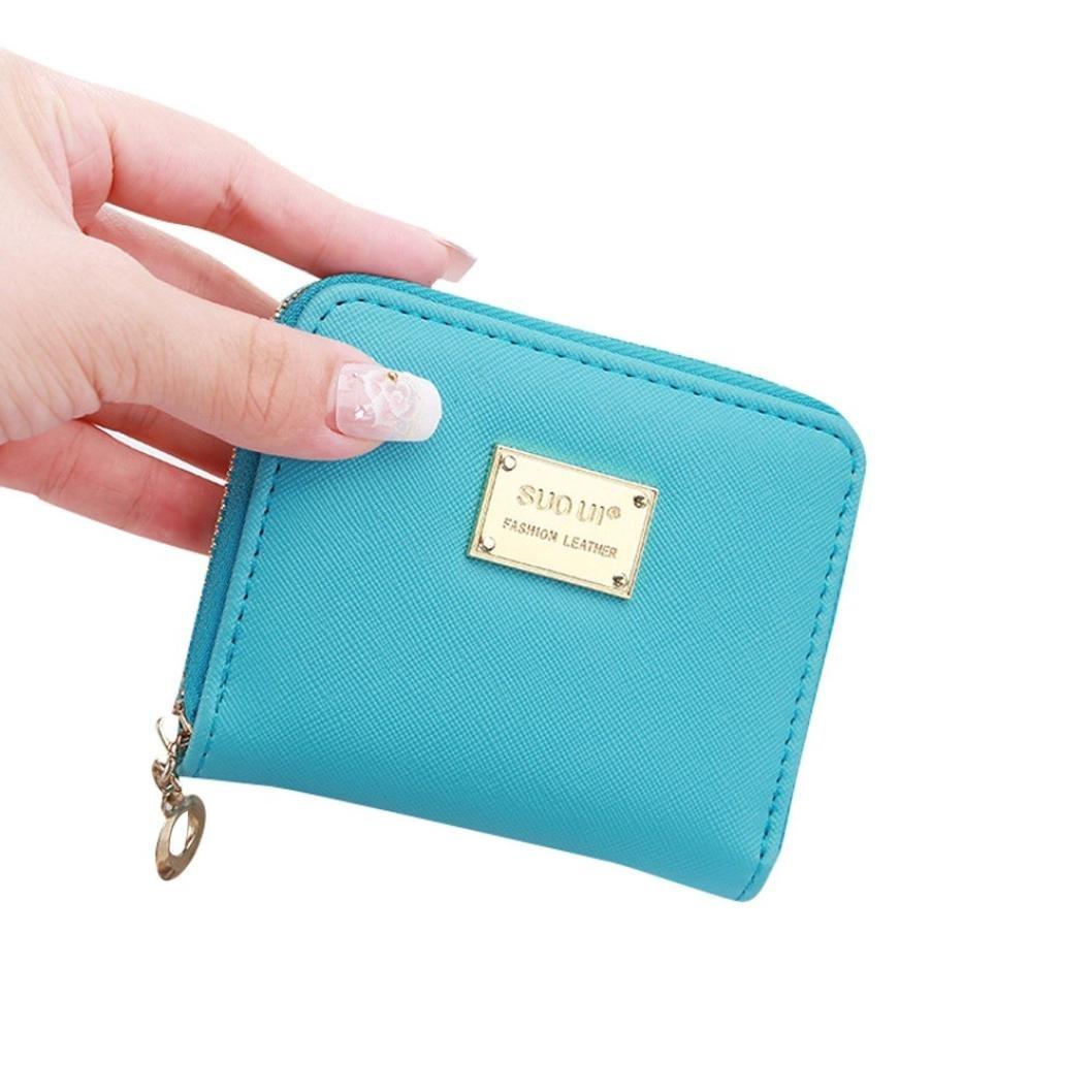 Hemlock Clutch Purse, Women Small Wallet Card Holder Zip Purse (Sky blue)