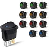 Nilight 90013L - Interruptor LED Redondo de 12 V para Coche, camión, Control de Encendido/Apagado, Color Azul, Verde…