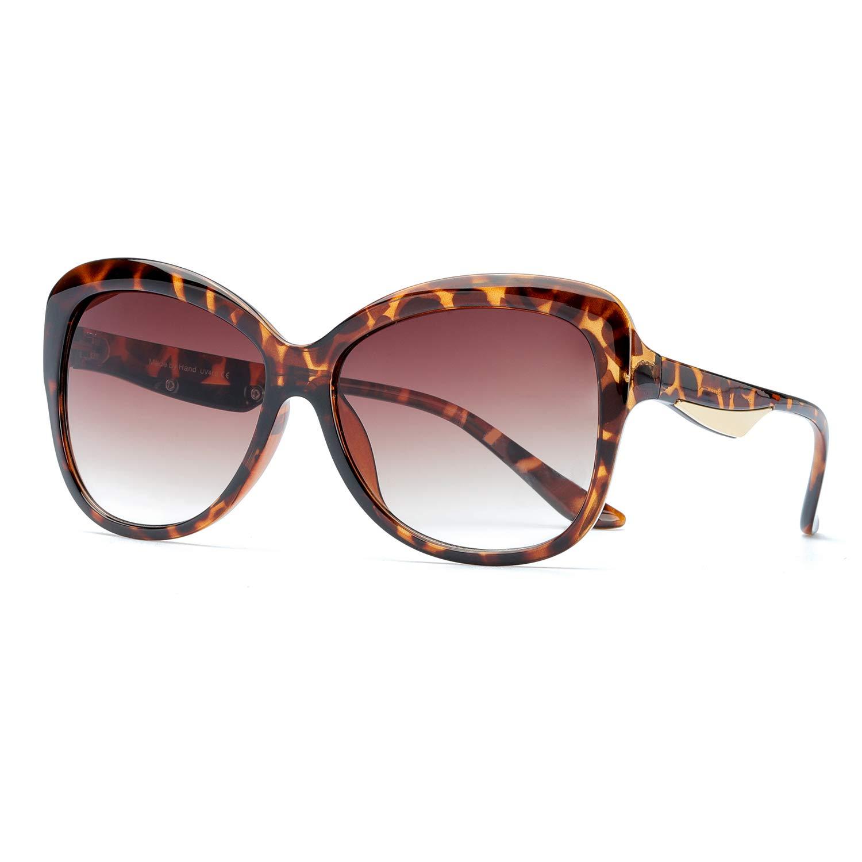 Leopard Cateye Frame Brown Gradient Lens(nonpolarize) ARLTTH Women's Vintage Cat eye Sunglasses Gradient Lenses Stylish Frame UV Predection