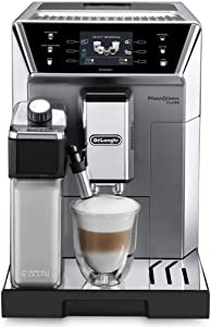 Delonghi super-automatic espresso coffee machine with an adjustable grinder, double boiler, milk frother maker for brewing espresso, cappuccino, latte, macchiato & flat white. ECAM55075MS PrimaDonna
