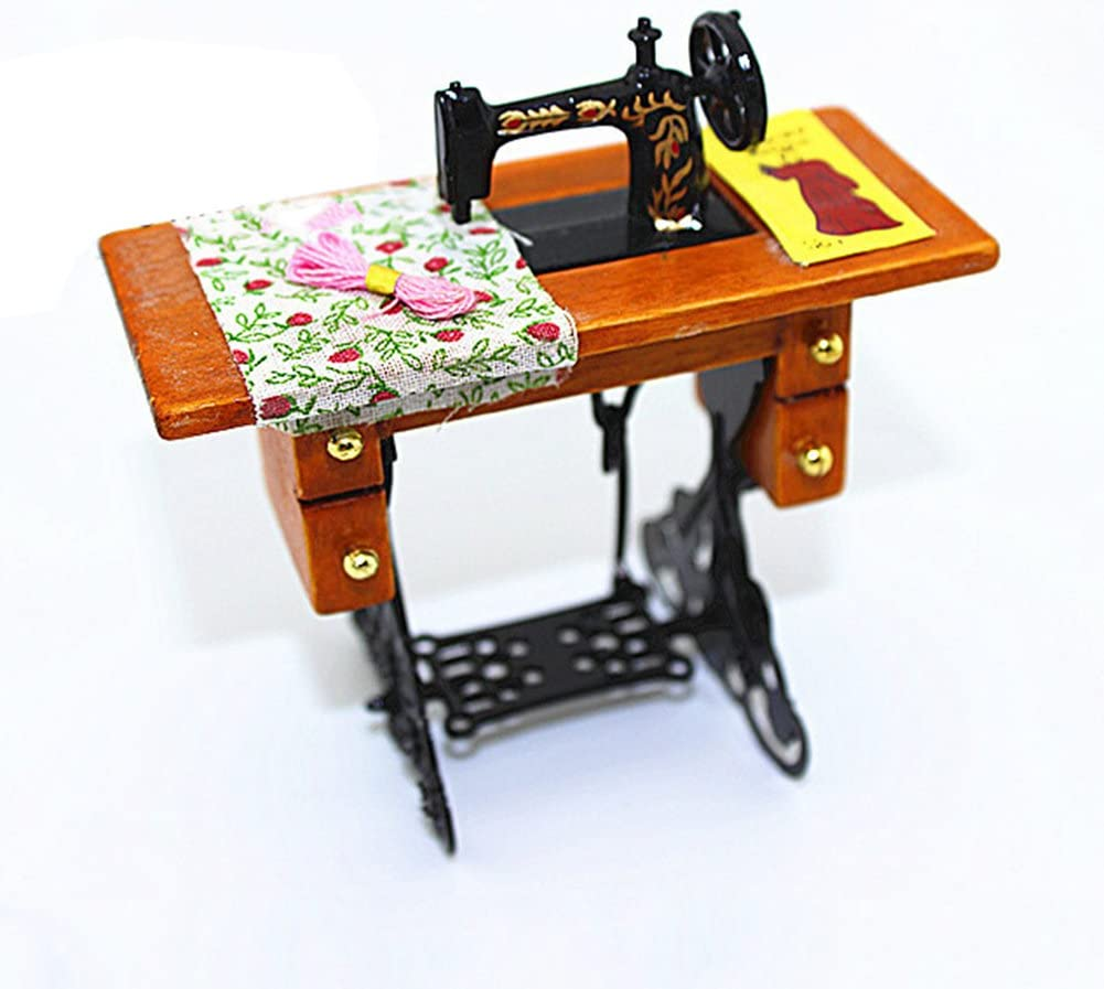 1:12 Scale Dollhouse Mini Sewing Machine Miniatures Furniture DIY Toys