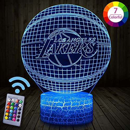 AURISON 3D Night Light for Kids, NBA Team Boys Girls Gifts Souvenir Illusion Nightlight 16 Colors + 7 Colors Changing with Touch &Remote Night Lights for Kids Room Décor