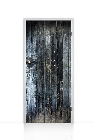 plus de photos style exquis nouvelle apparence Papier peint autocollant pour porte 1 pièce (ancienne Porte ...