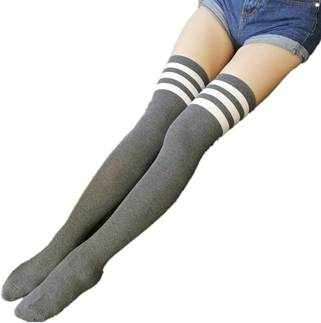 Womens Striped Over the Knee Tights High Stockings Socks 3 Pack