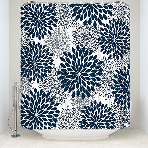 Bathroom Shower Curtain Dahlia Floral Printed Waterproof Fabic Curtains With Hooks Set Navy Blue 72x96IN