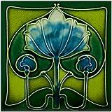 CafePress - Art Nouveau Blue Flower Tile Coaster - Tile Coaster, Drink Coaster, Small Trivet