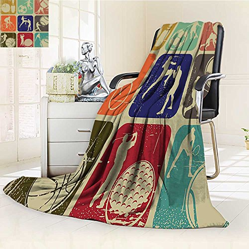 AmaPark Digital Printing Blanket Sports Assorted Sports Banners in Effect Tennis Soccer Bing Sports Pub Theme Summer Quilt Comforter by AmaPark