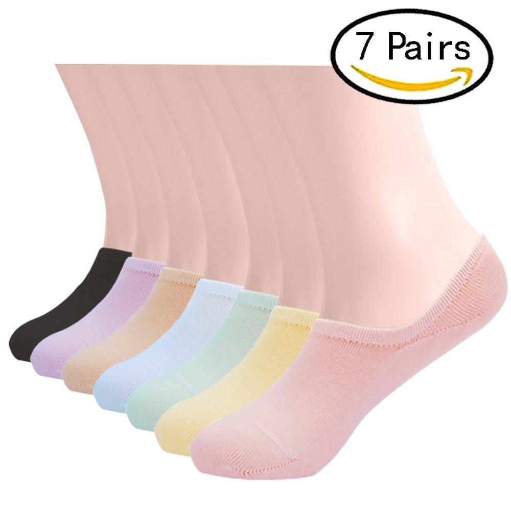 No Show Socks Women Men Cotton Non Slip Low Cut Invisible Loafer Socks Short Boat Liner Sock 7 Pack