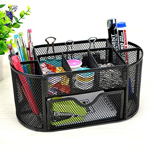 Wire Mesh Desk Organizer+ Drawer   The Mesh Collection,Perfect for Office, Students, or Home (9 Compartment)