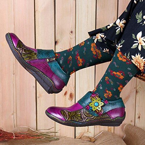 Socofy Oxford Chaussures En Cuir, Femmes Crochet Main Motif Végétal Épissage Dimpression Boucle Plate Chaussures Cru Bordeaux