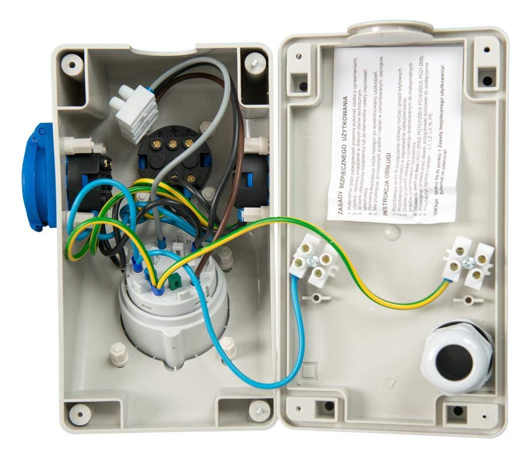 Baustrom// Wandverteiler vorverdrahtet 1 x CEE 16A//400V  2 x 230V//16A  Schuko