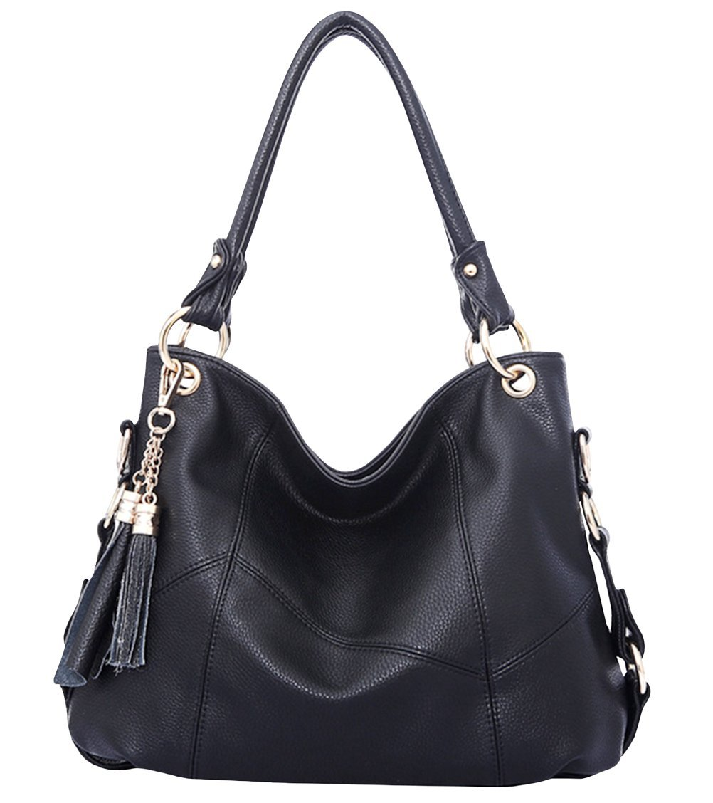 Womens Purse Handbag Shoulder Bags Tote Bags Hobo Leather Tassel,Black