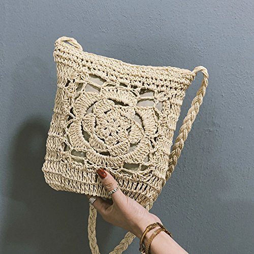 For Retro Envelope Summer Satchel Shoulder Purse Darkwhite For Straw