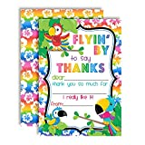 Tropical Bird Toucan Themed Thank You Notes for Kids, Ten 4'' x 5.5'' Fill In the Blank Cards with 10 White Envelopes by AmandaCreation