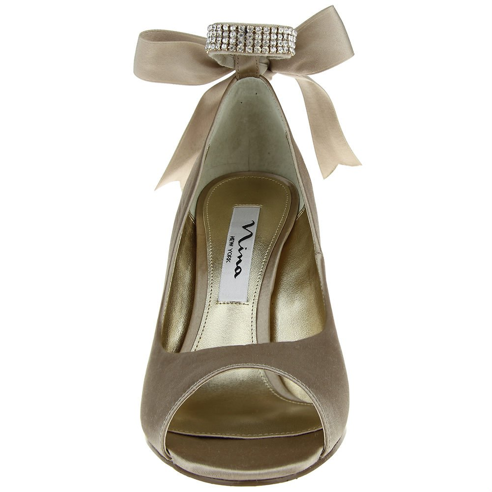 Nina Womens Emma Open Toe Ankle Wrap Wedge Pumps B00MOJHJ1I 5.5 B(M) US|CHAMPAGNE CRYSTAL