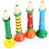 FAMI Musique Jouets, enfants multi-couleur bébé Trompette en bois Corne Hooter Instruments (Multicolore)