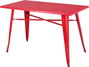 """VECELO Dining Kitchen Table Solid Metal Structure, Industrial Style, 47.2""""x 23.6"""", Red"""