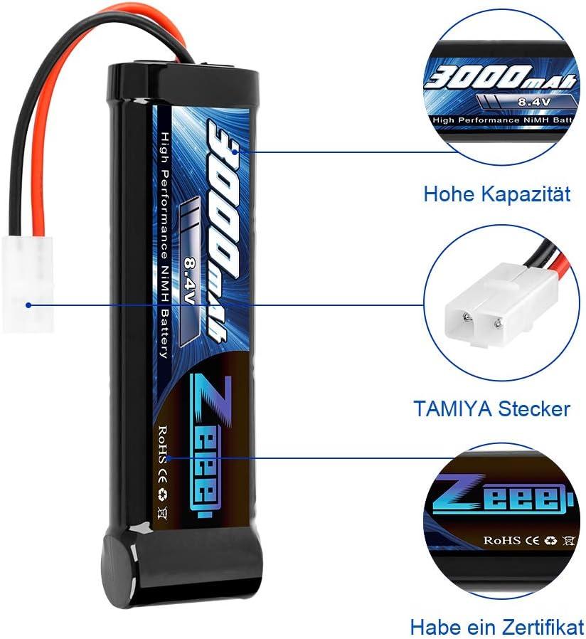 2 Pack Zeee 8.4V 3000mAh RC NiMH Battery with Tamiya Plug for RC Car RC Truck Traxxas Associated HPI Losi Kyosho Tamiya Hobby