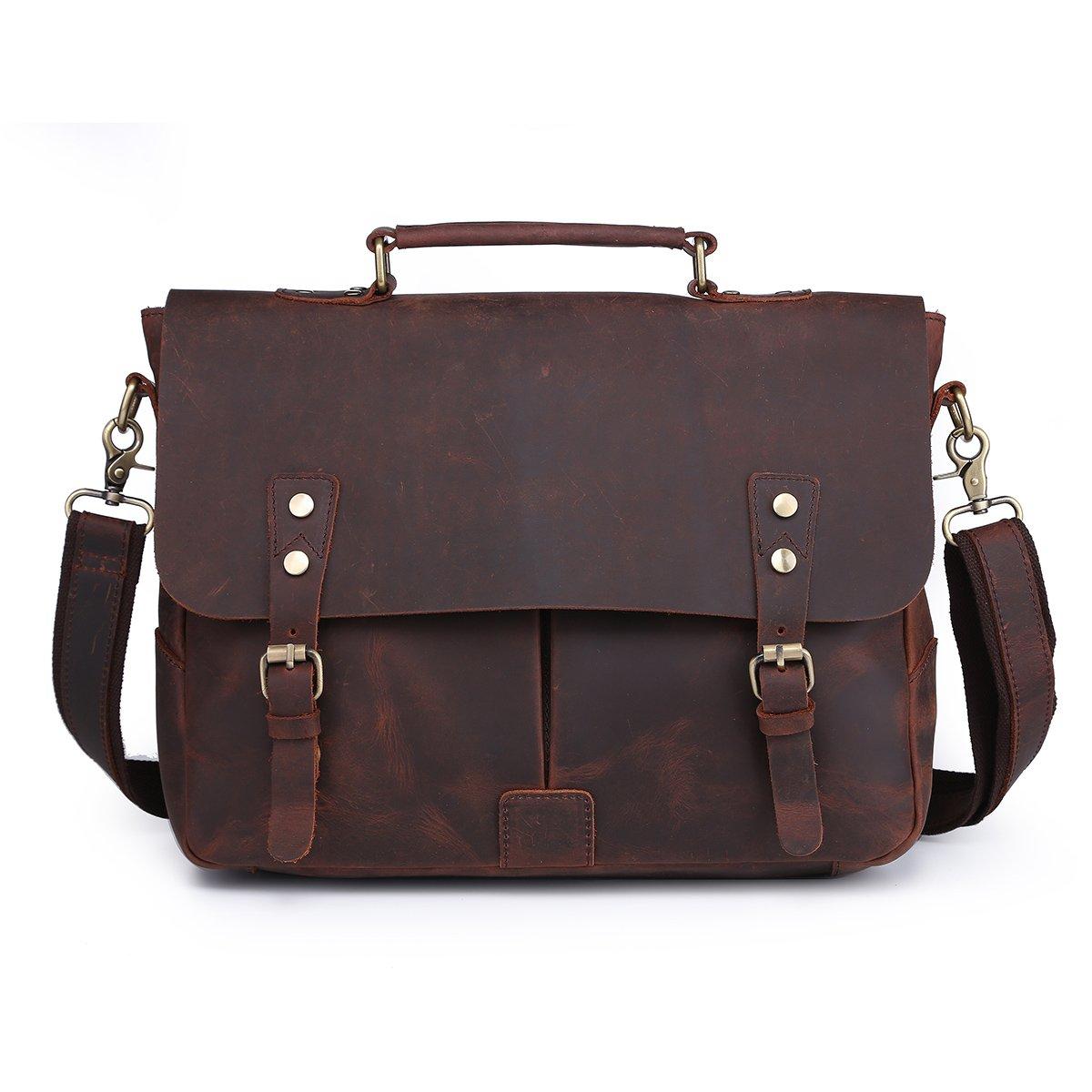 Sulandy Men's Leather Satchel Briefcase, 14'' Laptop Messenger Shoulder Bag Tote