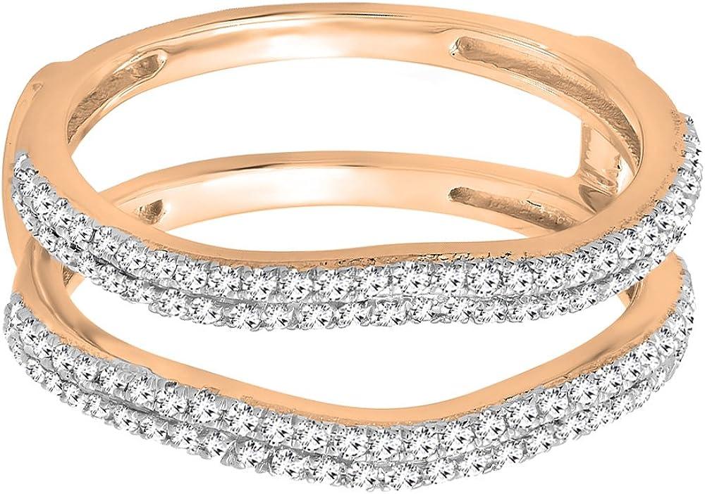 14K Gold Round White Diamond Ladies Wedding Enhancer Double Ring 1//2 CT Dazzlingrock Collection 0.48 Carat ctw