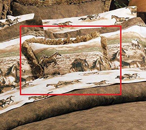 Karin Maki Unisex Wild Horses Fringed Throw Pillow Brown One Size