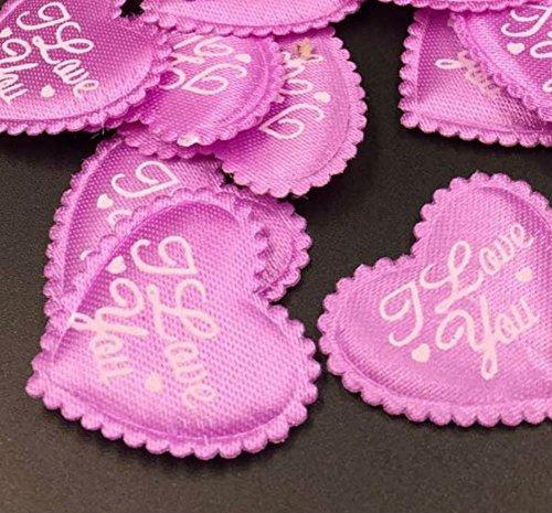 AKOAK 100 Pieces 3.5CM Love Heart Shaped Sponge Petal - I Love You Heart Applique for Wedding Decorative Handmade DIY Petals Birthday Table Party Supplies Confetti(Purple) - Heart Shaped Petals