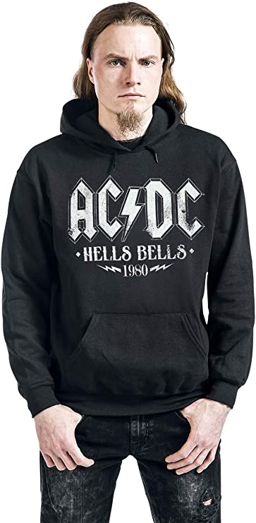 Regular//Coupe Standard G/én/érique AC//DC Red Logo Homme Sweat-Shirt /à Capuche Noir