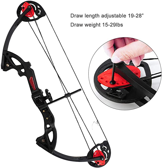 ZSHJG Junior Complete Compound Bow Arrow Package Set Youth Compound Bow and Arrow Set 15-29lbs Children Junior Entry Level Compound Bow Kit 260fps