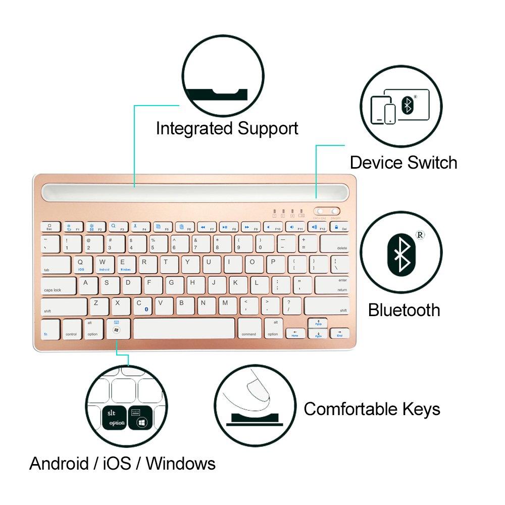 PinPle Teclado Bluetooth Inalámbrico Multifuncional Silm Teclado - SupportiOS/Android/Windows - para iPhone/iPad/Smartphones/Tablets: Amazon.es: Electrónica