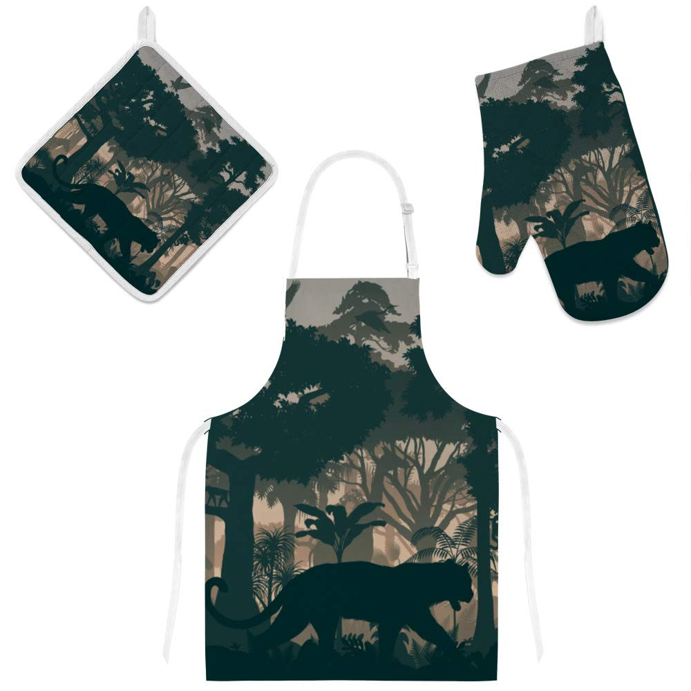 Kuizee Kitchen Apron Set 3 Pcs Tropical Rainforest Jungle Animals Silhouette Gray Microwave Oven Glove Insulation Pads Apron Oven Mitts