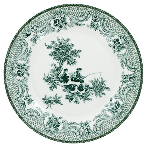English Tea Store Green Toile Porcelain 7.5in Dessert Plate Single Plate