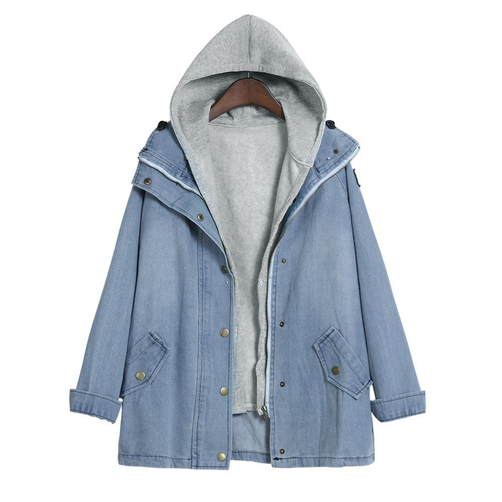 Qisc Women's Casual Loose Denim Outercoat Windbreaker Two Pieces Outwear Jackets (XXXXL, Blue) by Qisc