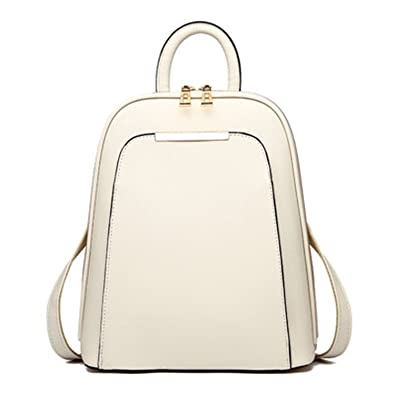 c79d2832dd Amazon.com  Jeff Tribble Brand NEW Solid PU Leather Backpack Women Designer  School Bags For Teenagers Girls Luxury Women Backpacks Beige  32cmx26cmX13cm  ...