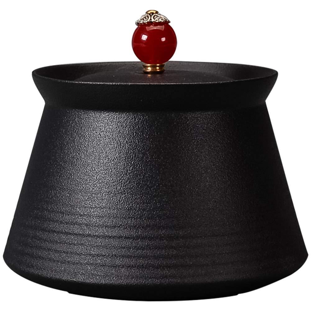 Cendrier avec Couvercle Haut De Gamme Maison Salon Chambre Coupe-Vent Personnalité Créatrice Mode Poterie Noire Cendrier