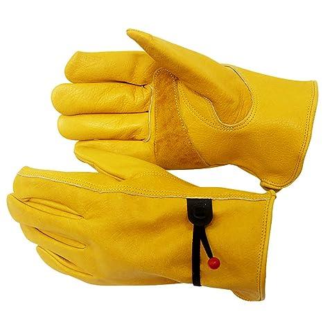 S-XL HGJ91 ajustados 2 para deportes al aire libre para hombres y mujeres M: 9.5 L Guantes de trabajo de jardiner/ía de piel de vaca impermeables W x 4.7 amarillo reforzados