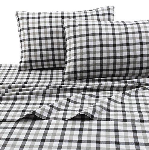 Tribeca Living 1BGPL200PCST Soft Heavyweight Flannel Pillowcases,Plaid Black Grey,Standard (Plaid Standard Pillowcase)
