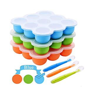 Silicone Food Storage Freezer Tray with Clip-On Lids+Spoon,Baby Food Containers-9 Large Cup BPA Free Perfect for Homemade Baby Food,Safety&Reusable(Blue)