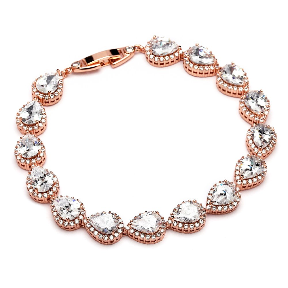 Mariell 14K Rose Gold Plated Pear-Shaped Halo Cubic Zirconia Bridal Tennis Bracelet Wedding Jewelry 4562B-RG