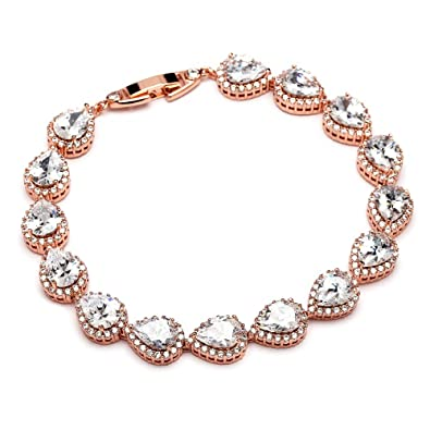 Amazoncom Mariell 14K Rose Gold Plated PearShaped Halo Cubic