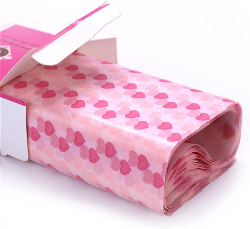 Wax Paper,Food Picnic Paper,50 sheets Grease Proof Paper,Waterproof Dry Hamburger Paper Liners Wrapping Tissue for Plastic Food Basket By Meleg Otthon(Heart-shaped pattern)