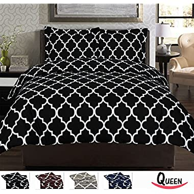 3 Piece Duvet Cover Set (Queen, Black) - 1 Duvet Cover + 2 Pillow Shams - Hotel Quality Brushed Velvety Microfiber - Luxurious, Comfortable, Breathable, Soft & Extremely Durable - By Utopia Bedding